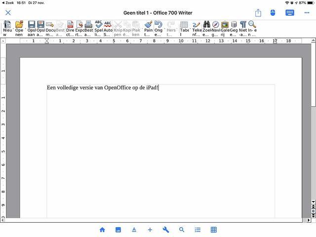 Office 700 is een volledige versie van OpenOffice onder iOS