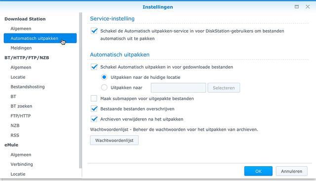 Het is mogelijk om gedownloade bestanden op je NAS automatisch uit te laten pakken