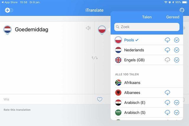 Naast woordenboeken zijn er ook vertaalapps zoals iTranslate