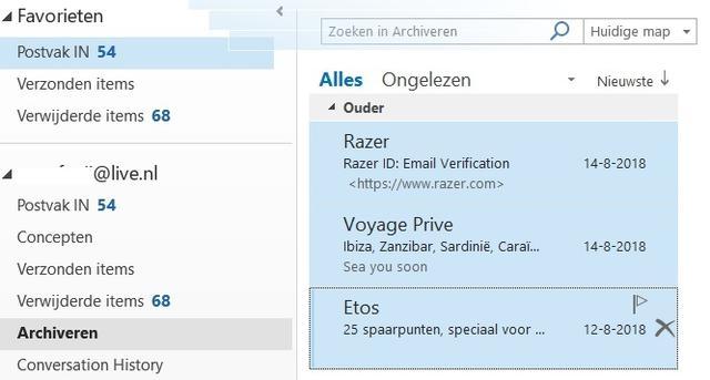 archiveren Ongedaan maken Outlook