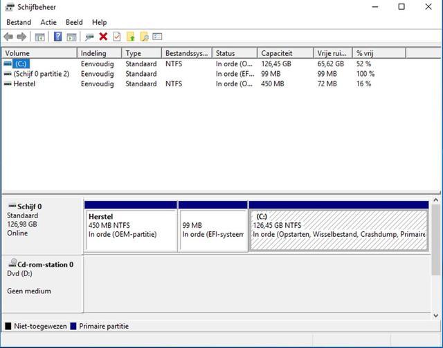 Via Windows Schijfbeheer achterhaal je snel je in gebruik zijnde driveletters