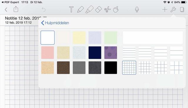 Er zijn diverse virtuele papiersoorten beschikbaar in Notability voor iOS
