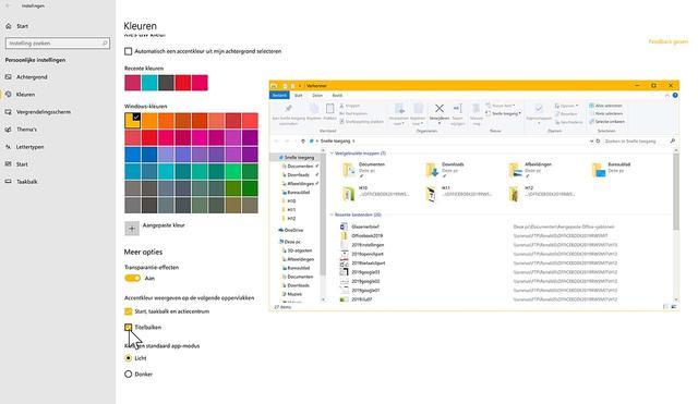 Kies zelf (accent)kleuren in Windows 10
