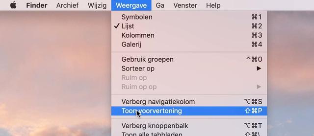 Hier schakel je previews in voor macOS Finder