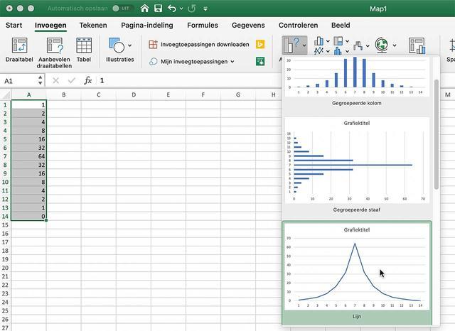 Kies de grafieksoort in Excel