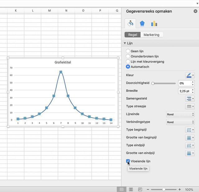 Zo maak je een lijngrafiek vloeiend in Excel