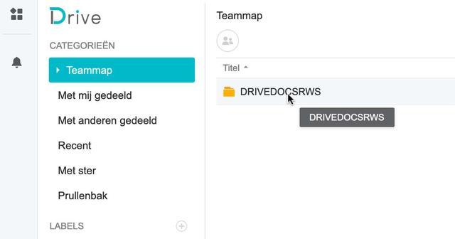 Selecteer hier de gedeelde map als Teammap voor gebruik in Synology Office