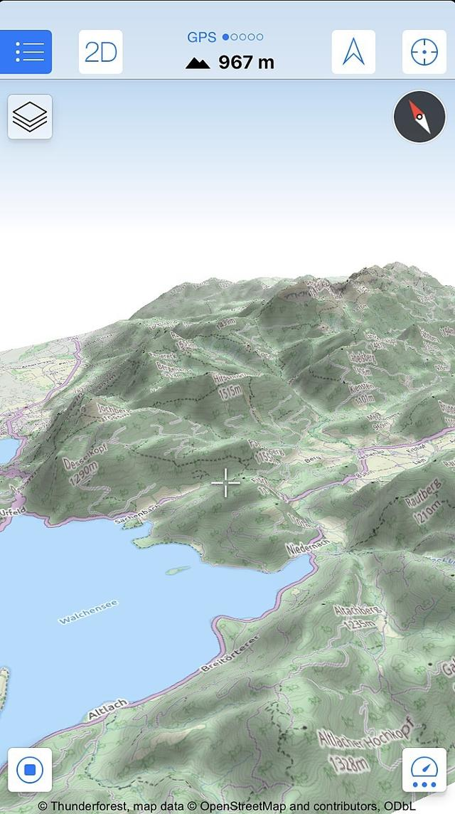 Navigeren in 3D is vooral praktisch in bergachtig gebied