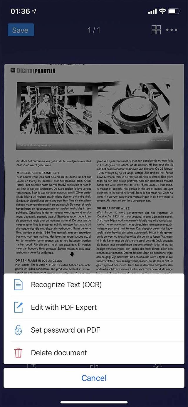 De app is niet alleen scanner, maar kan ook tekst herkennen