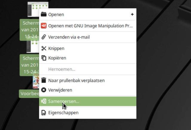 Op naar een inpak-actie, dat in Linux Mint Samenpersen heet