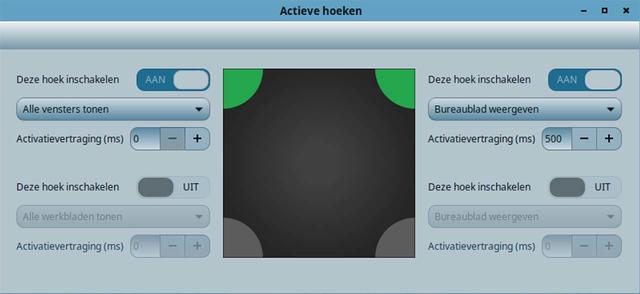 Hier stel je actieve hoeken voor Linux Mint in