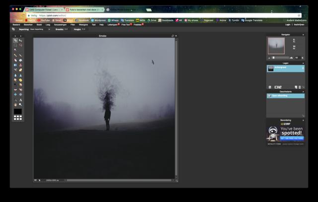Screenshot van het foto-bewerk programma Pixlr