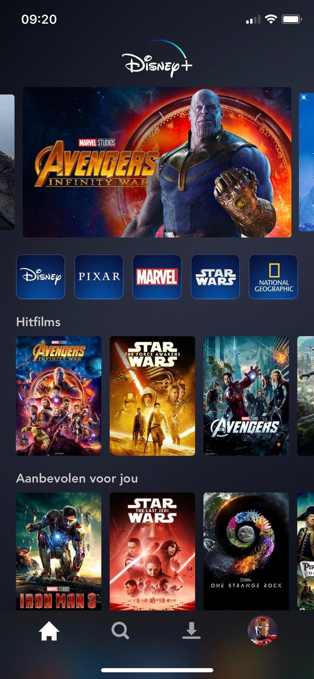 Screenshot van Disney+