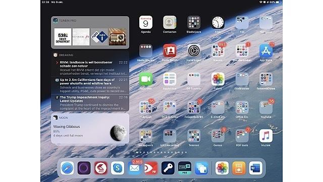Widgets zijn standaard zichtbaar in iPadOS als je je iPad horizontaal houdt