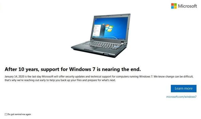 Windows 7 Einde support melding