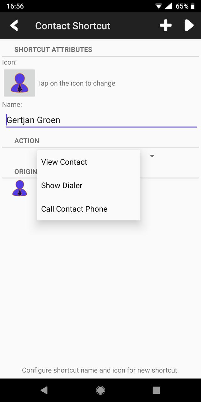 Contact shortcut