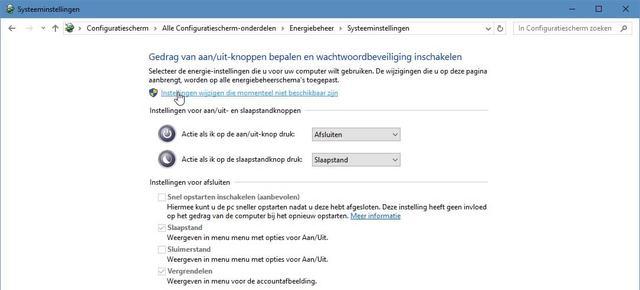 Via dit wat onlogisch werkende scherm verwijder je de slaapstand uit het startmenu van Windows 10