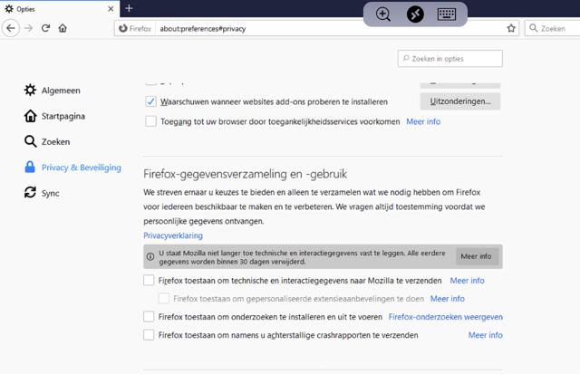 Door deze standaard ingestelde opties uit te zetten is Firefox extreem privacy-vriendelijk geworden.