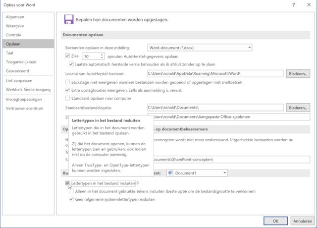 Zet deze optie aan en de in je document gebruikte lettertypen worden samen met het document bewaard.