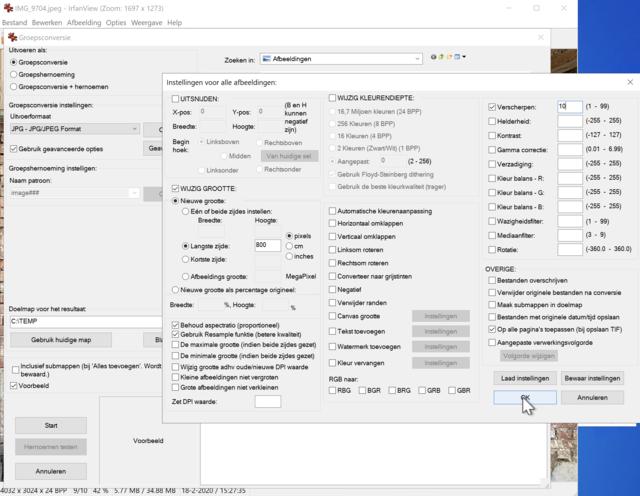 De batchconversie-module in IrfanView biedt heel veel mogelijkheden.