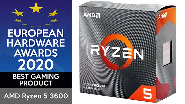 De AMD Ryzen 5 3600 werd door de European Hardware Awards bekroond met de prijs voor Best Gaming Product.