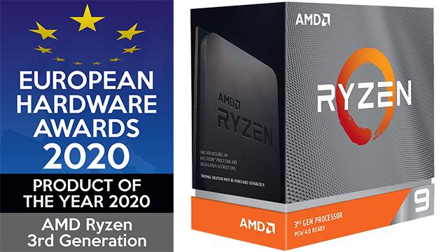 De complete derde generatie van AMD Ryzen CPU's werd door de European Hardware Awards bekroond met de prijs voor Product of the Year 2020.