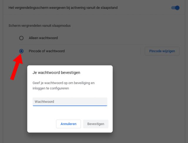 Kies voor een zeer stevig wachtwoord voor je Google-account, gecombineerd met een pincode voor je Chromebook.