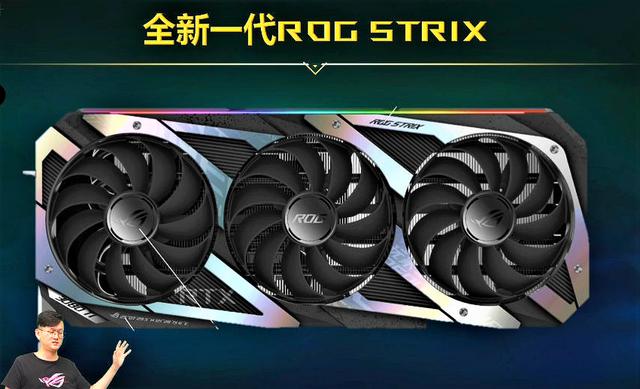 Een gelekt ontwerp van de nieuwe ASUS ROG Strix GeForce RTX 3080 Ti, vermoedelijk uit een interne vergadering bij de fabrikant.