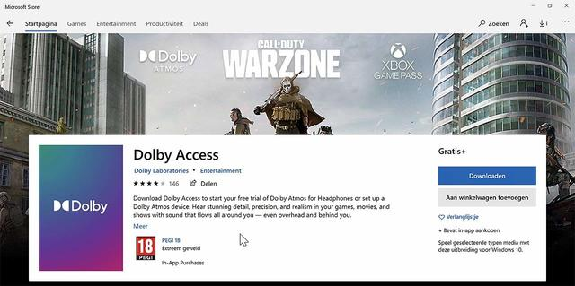 Dolby Atmos voeg je toe via de (betaalde) app Dolby Access, te vinden in de Windows Store