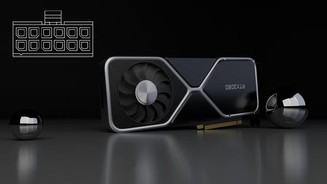 Fan-render van Reddit-gebruiker creper9000, waarop de vermoedelijke NVIDIA GeForce RTX 3080 Ti afgebeeld is. Bijgevoegd is een blauwdruk van de 12 pins PSU-connector die mogelijk benodigd is om de nieuwe kaart van stroom te voorzien.
