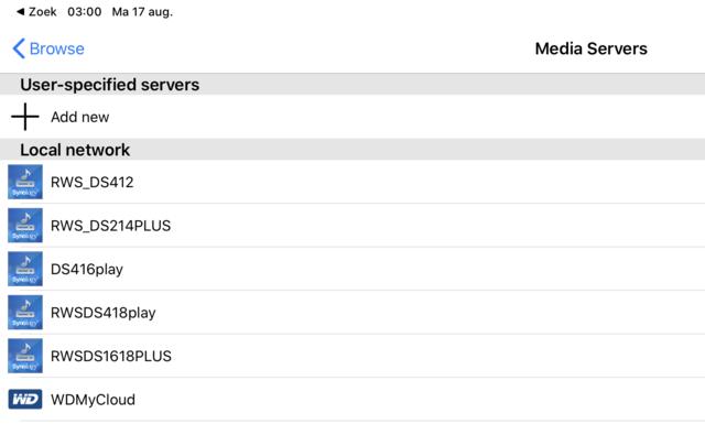 Foobar2000 toont al je beschikbare DLNA-muziekservers op een rijtje.