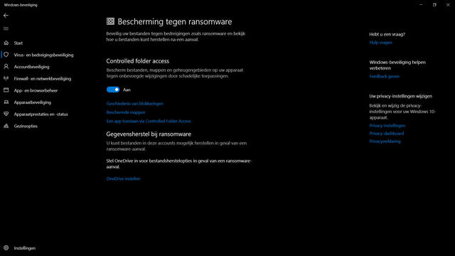 Ransomwarebeveiliging Windows 10
