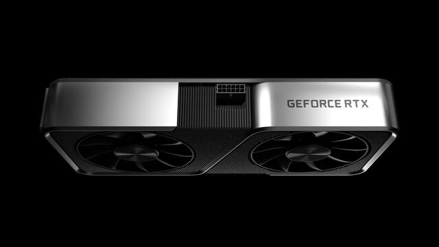 Render van de zijkant van een GeForce RTX 3080-videokaart van Nvidia.