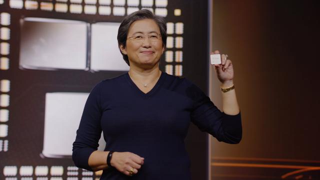 AMD's CEO, Dr. Lisa Su, presenteert een van de eerste nieuwe Zen 3-processoren.