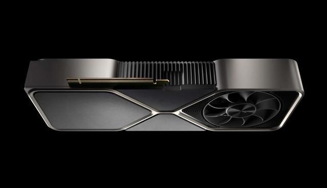 Render van een GeForce RTX-videokaart uit de Ampere-generatie.