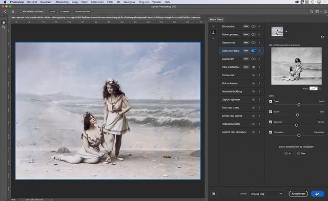 Photoshop zet een oude zwart-wit-foto in een handomdraai om naar een ingekleurd exemplaar.