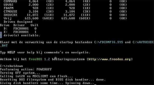 Gebruik altijd het commando shutdown om freeDOS netjes af te sluiten.