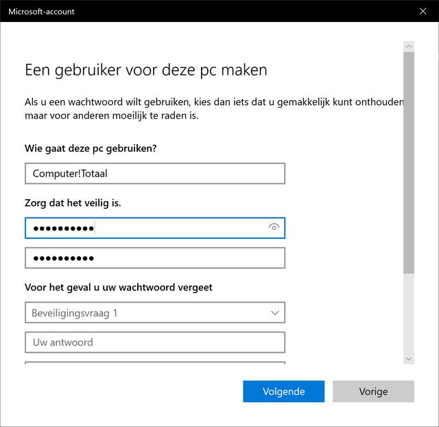 Windows 10 accountbeheer