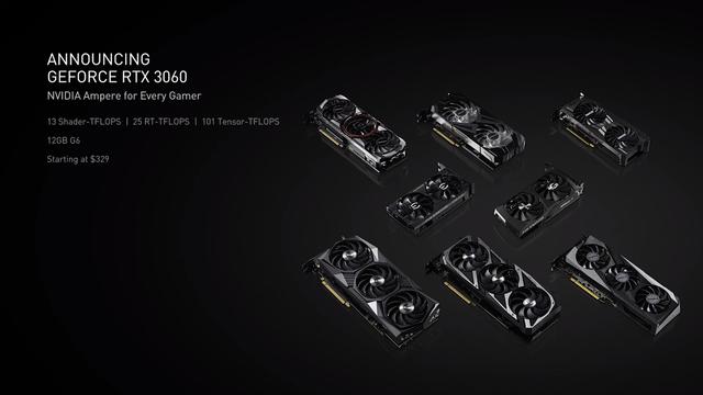 Verzamelfoto van een presentatie over de GeForce RTX 3060-videokaart van Nvidia.