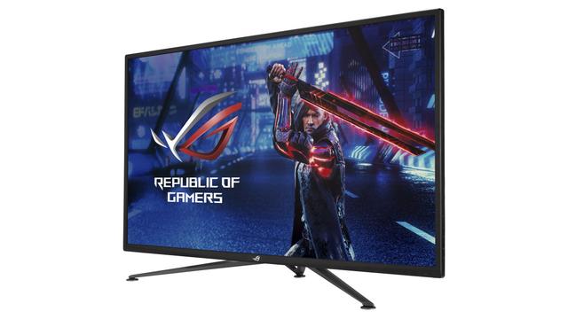 Productfoto van de ASUS ROG STrix XG43UQ, een 4K-display met ondersteuning voor HDMI 2.1.