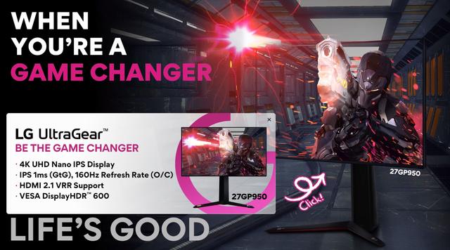 Teaser van de LG UltraGear 27GP950-monitor, een 4K-display met ondersteuning voor variabele beeldverversing tot 160 Hz.