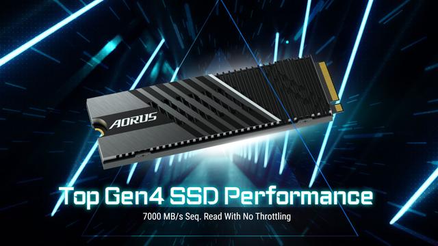 Productafbeelding van de Gigabyte Aorus Gen4 7000s-SSD.