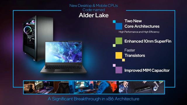 Promotie-afbeelding die de nieuwe Alder Lake-generatie van Intel-processoren voorziet van details.