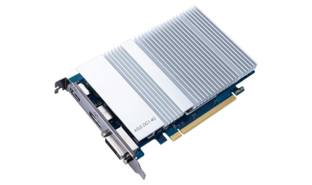 Productafbeelding van ASUS' DG1-4G grafische kaart, welke gebruikmaakt van de eerste afzonderlijke Intel Iris Xe-grafische chipset.