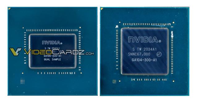 Close-up foto's van twee GA106-chipsets van Nvidia, waarvan de kleinere bedoeld is om geïntegreerd te worden in (onder meer) de Nvidia GeForce RTX 3060-videokaart.