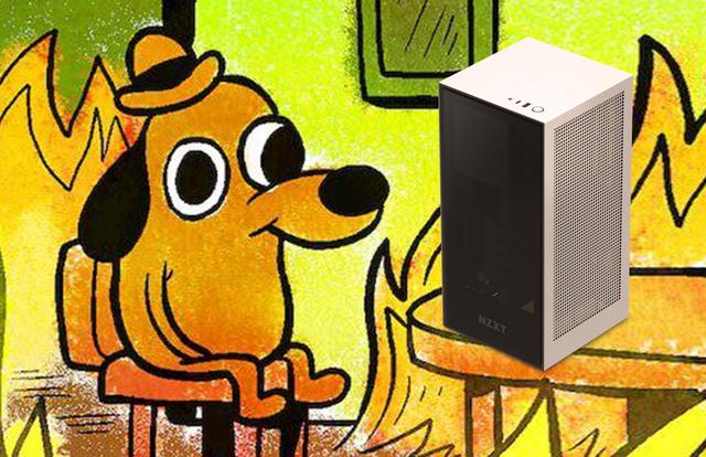 'This is fine'-meme met in de vlammenzee de H1-computerkast van NZXT verwerkt.