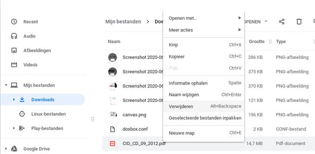 Een bestand verwijderen doe je snel via het contextmenu, dat nog veel meer handige en noodzakelijke opties bevat.