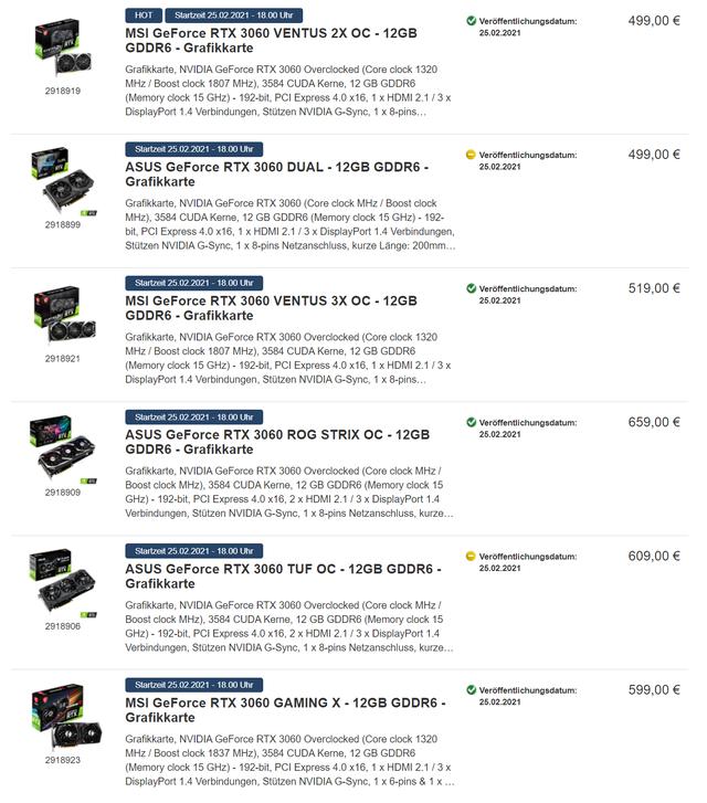 Zoekresultaten voor 'RTX 3060' op de Duitse tak van ProShop, waarin zichtbaar is dat de prijzen voor release al flink opgehoogd zijn.