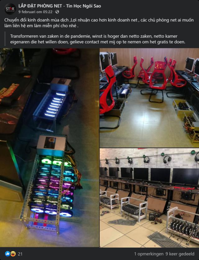 Facebook-bericht (plus Nederlandse vertaling) van een Vietnamese uitbater van een internetcafé. Op de bijgesloten foto's is te zien hoe de computers omgebouwd zijn om crypto-valuta te delven.