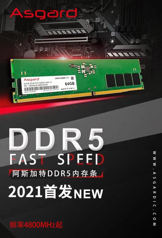 Promotionele afbeelding van een DDR5-geheugenkit van Asgard, die het Chinese bedrijf in massaproductie wil nemen zodra cpu's en moederborden met ondersteuning ervoor uitrollen.